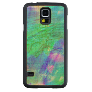 seamless art background watercolor blue, green carved maple galaxy s5 case