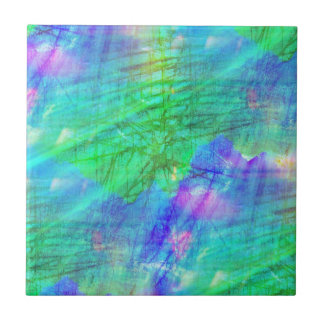 seamless art background watercolor blue, green small square tile