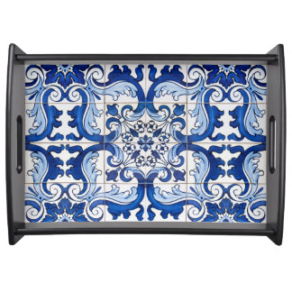 Seamless Azulejo Floral Pattern Serving Tray