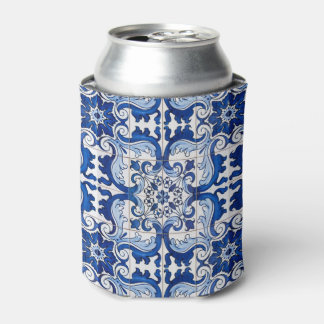 Seamless Azulejo Tile Floral Pattern Can Cooler