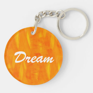 Seamless Background Yellow Abstract Watercolor Double-Sided Round Acrylic Key Ring