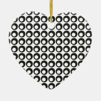 Seamless Black and White Abstract Modern Circles Ceramic Heart Decoration
