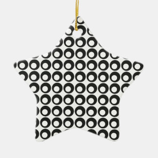 Seamless Black and White Abstract Modern Circles Ceramic Star Decoration