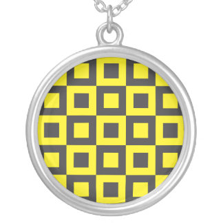 seamless black and yellow squares in squares pendants