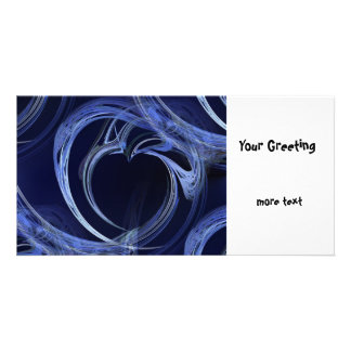 Seamless Blue Fractal Personalized Photo Card