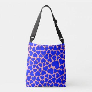Seamless Blue  heart shape pattern Crossbody Bag