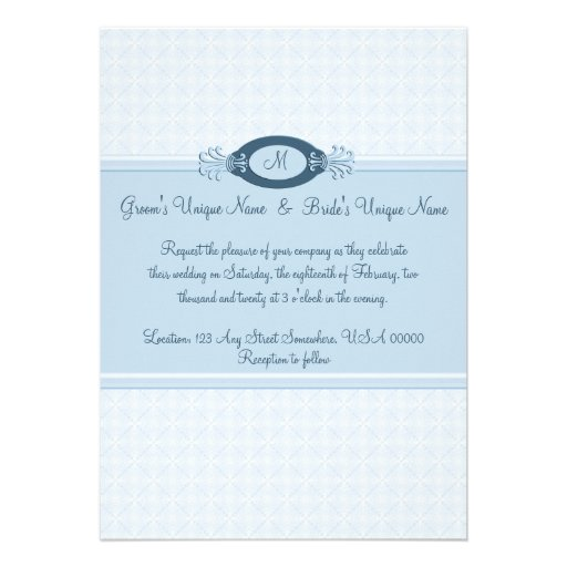 Seamless Blue Lace Monogrammed Wedding Personalized Invites