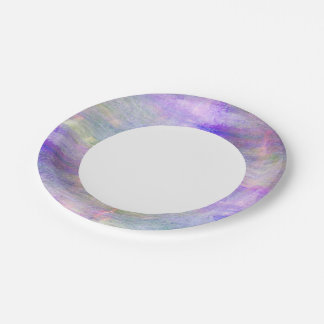 seamless blue, pink background yellow watercolor paper plate