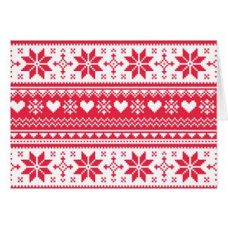 Seamless Christmas card, winter, Scandinavian, ret Greeting Card