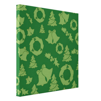 Seamless Christmas Pattern green Canvas Print