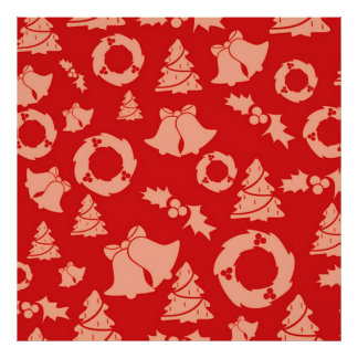 Seamless Christmas Pattern red Poster