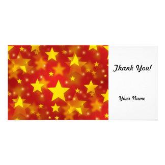 Seamless Christmas Stars Customized Photo Card
