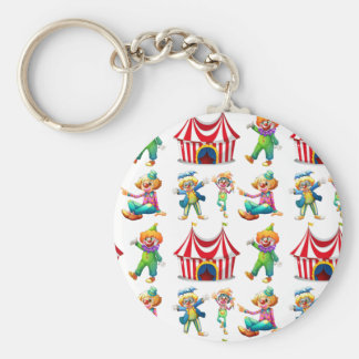 Seamless clowns and circus tent basic round button key ring