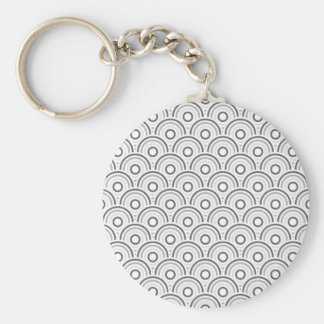Seamless colorful abstract  concentric circles basic round button key ring