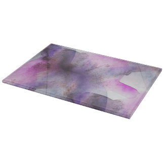 seamless cubism purple abstract art cutting board