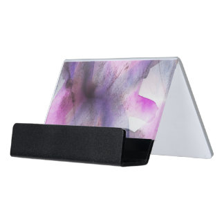 seamless cubism purple abstract art desk business card holder