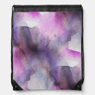 seamless cubism purple abstract art drawstring bag