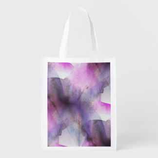 seamless cubism purple abstract art reusable grocery bag