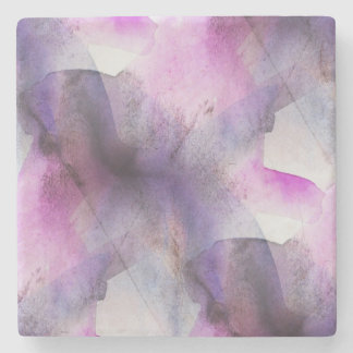 seamless cubism purple abstract art stone coaster
