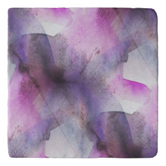 seamless cubism purple abstract art trivet