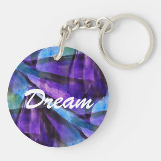 seamless cubism purple, blue abstract art Double-Sided round acrylic key ring
