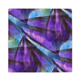 seamless cubism purple, blue abstract art maple wood coaster