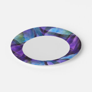 seamless cubism purple, blue abstract art paper plate