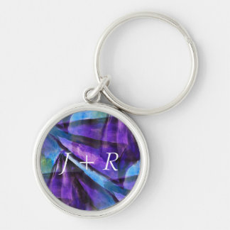 seamless cubism purple, blue abstract art Silver-Colored round key ring
