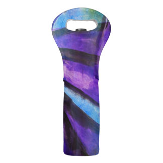 seamless cubism purple, blue abstract art wine bag