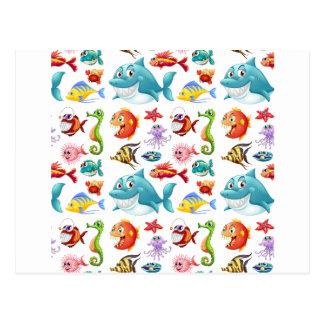 Seamless fish postcard