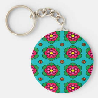 Seamless Floral Pattern Blue Background Basic Round Button Key Ring