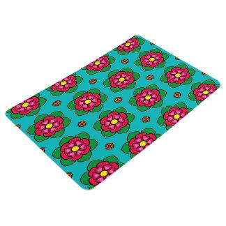 Seamless Floral Pattern Blue Background Floor Mat