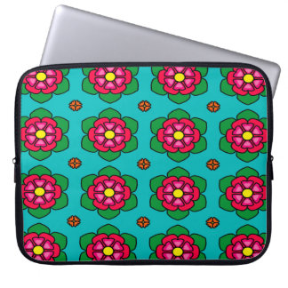 Seamless Floral Pattern Blue Background Laptop Sleeve