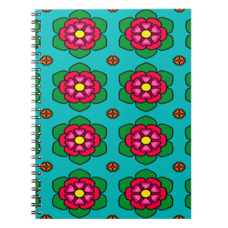 Seamless Floral Pattern Blue Background Notebooks