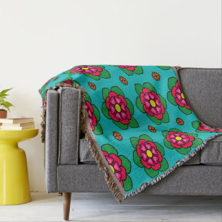 Seamless Floral Pattern Blue Background Throw Blanket