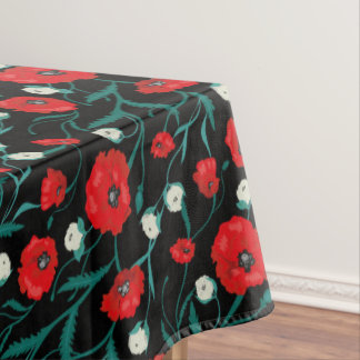 Seamless Flower  Poppies and Roses  Pattern Tablecloth