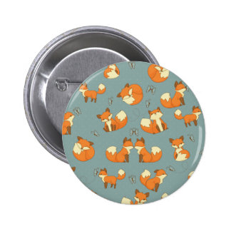 Seamless Fox and Butterfly Pattern 6 Cm Round Badge