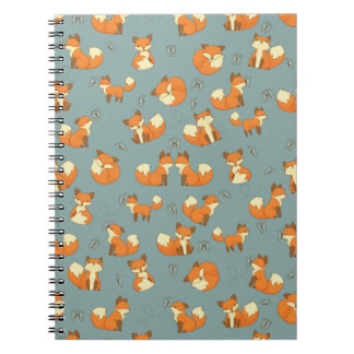 Seamless Fox and Butterfly Pattern Notebooks