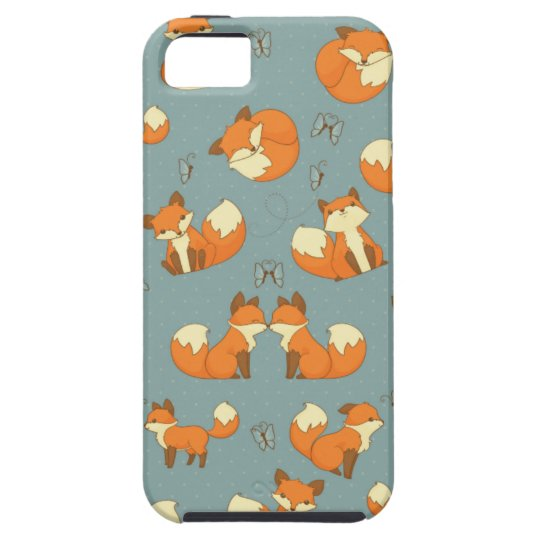 Seamless Fox and Butterfly Pattern Tough iPhone 5
