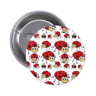 Seamless ladybugs 6 cm round badge