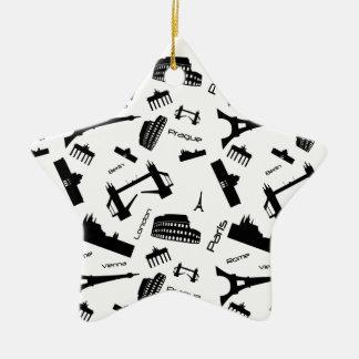 Seamless landmarks background christmas ornament