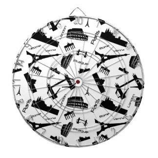 Seamless landmarks background dartboard