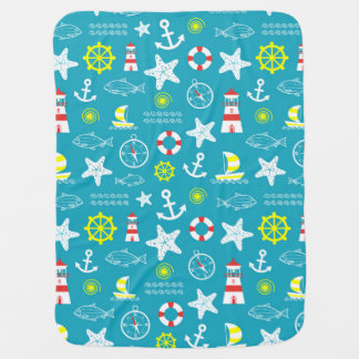 Seamless nautical pattern receiving blankets