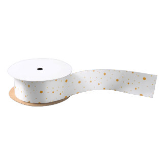 Seamless Orange Polka Dot Pattern Ribbon Satin Ribbon