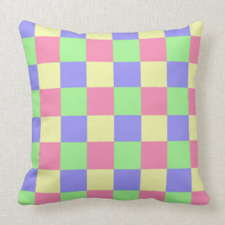 Seamless  pastel coloured checked pattern cushion