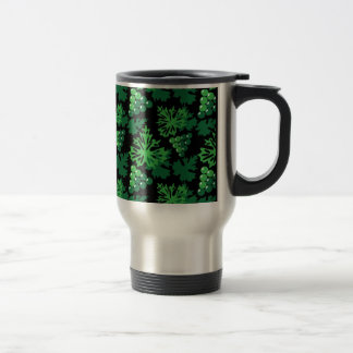 seamless pattern of leaves with grapes travel mug