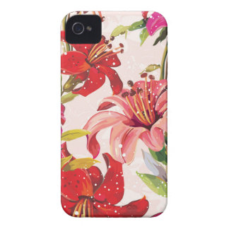 Seamless pattern with Lily iPhone 4 Case