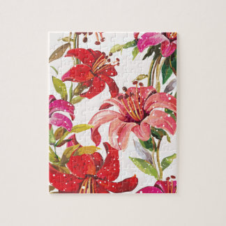 Seamless pattern with Lily Jigsaw Puzzle