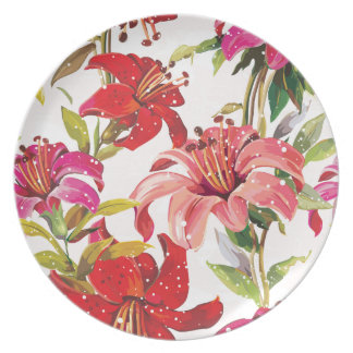 Seamless pattern with Lily Plate