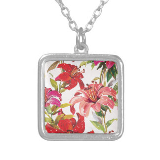 Seamless pattern with Lily Silver Plated Necklace